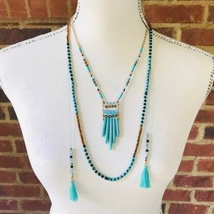 Multi Strand Turquoise Beaded Tassel Necklace Gold
